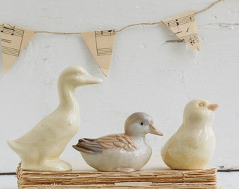 Put Your DUCKS in a Row Vintage Porcelain GOOSE Duck Chick Nursery Decor Baby Shower Decor Spring Easter