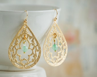 GOLD Lace Filigree EARRINGS Mint Green Stone Tear Drop Earrings