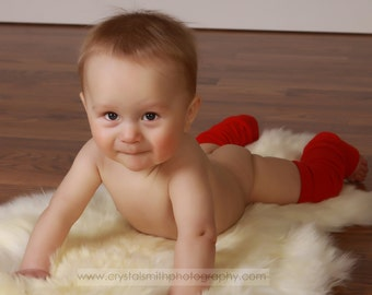 Newborn Baby Red Leg Warmers