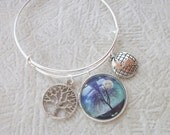 Earth Day Adjustable Bangle Bracelet - Tree Of Life - Earth Charm - April 22nd - Fundraiser - READY TO SHIP