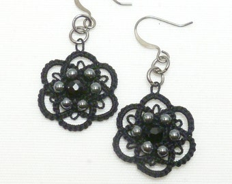 Tatted black lace earrings tatted jewelry -Flourish with hematite and crystal