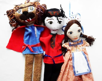 Beauty and the Beast- Hand Puppet Trio- Original and Handmade-Custom-Russian Version/ Bella/Prince/Beast/ Puppets