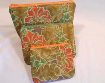 Set of Three Padded Zipper Pouches...Ready for Gift Giving