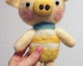 Needle Felted Giant Kawaii Pig