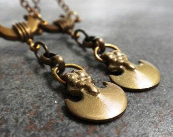 Crescent Moon Earrings Bohemian Chic Long Niobium Wire
