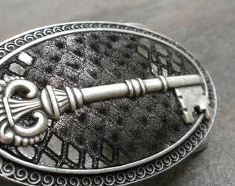 Ready to Ship Fashion Gift Steampunk Belt Buckle Silver Skeleton Key