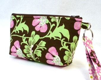 SALE! Amy Butler Fabric Cosmetic Bag Wristlet Clutch Purse Zipper Pouch Pencil Case Key Fob Sweet Jasmine Rose Pink Brown