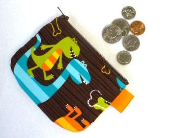 Boys Dinosaur Mini Coin Purse Dino Dudes Mini Change Purse Little Zipper Coin Purse Michael Miller Handmade MTO