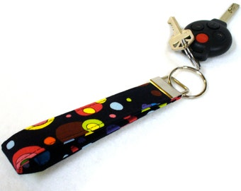 Colorful Bubbles Wristlet Key Fob Luella Doss Fabric Key Fob Keyring Floral Hot Flash Black Handmade
