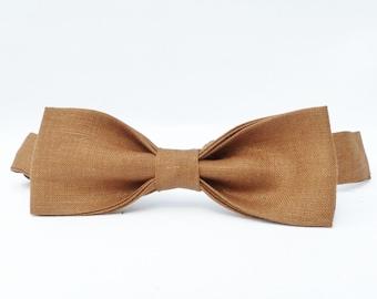 Skinny Bow Tie - Cocoa Brown Irish Linen