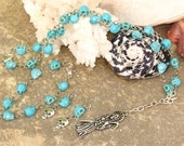 Dios De Los Muertos Day of the Dead Grim Reaper Rosary style Necklace Earring Bracelet set with German Silver and Turquoise colored skulls