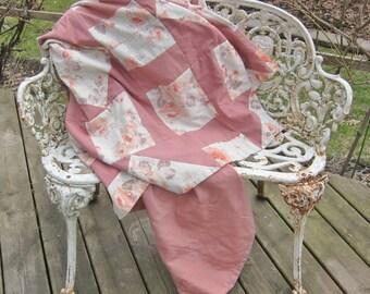 Vintage quilt 1980s home made, homemade quilt, vintage patchwork, pink quilt, vintage sheets, 80s bedroom