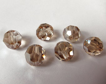 10mm Golden Shadow Swarovski Round Beads - (6)