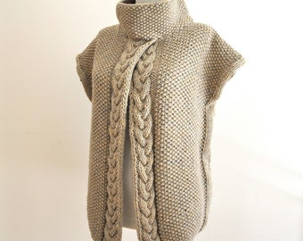 Hand Knitted Sweater Cardigan Jacket Tunic with Neck Cowl Beige Earth Colors
