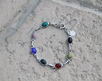 Multicolored scarab and sterling silver bracelet.XS / S