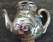 Gold metal Flower and Rhinestone Teapot Brooch