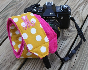 Monogramming Included Camera Strap for DSL Camera Mustard Yellow Polka Dot Print with Hot Pink minky dot reverse