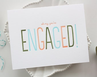 Engagement Letterpress Card - Engagement Congratulations Card - Wedding