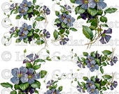 Instant Digital Download Vintage Purple Violets Blue Floral Flowers Clip Artt PNG - Instructions to make Waterslide Decals Bonus! ECS