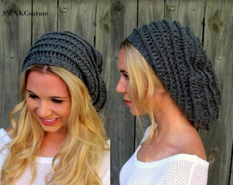 Slouchy Beanie Womens Hat Winter Hat Slouchy Ribbed Bohemian Tam Toque Charcoal Gray Wool Blend Knit Hand Crochet Hat - CHOOSE Your Color