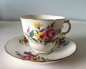 Royal Vale Tea Cup and Saucer / Pink Roses & Yellow Daisies