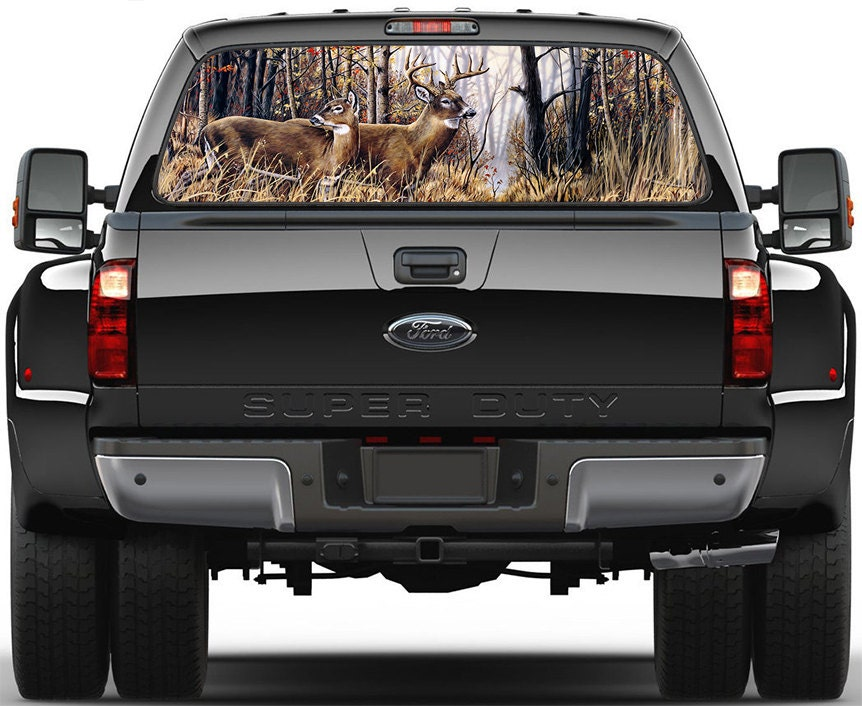 Graphics For Deer Rear Window Tailgate Vinyl Graphics Www - Rear window hunting decals for trucksamazoncom truck suv whitetail deer hunting rear window graphic