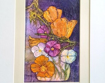 POPPIES PANSIES Original Painting ZEN Inspired Floral Watercolor On Tissue Lynne French Free Shipping