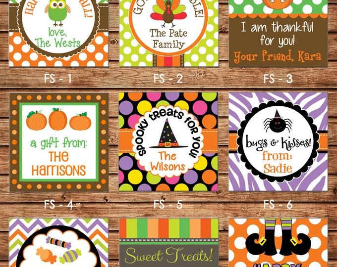 24 Square Personalized Halloween / Fall / Thanksgiving Enclosure Cards OR Gift Stickers - Choose ONE DESIGN