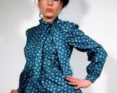 Vintage Silk Secretary Dress - Feather Light Emerald Green Silk - OOAK Feminine Military Button Tie Neck 80s Dress Size 6 8 small medium