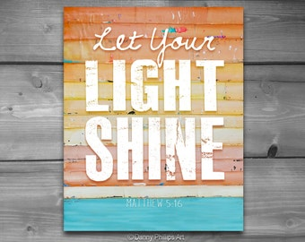 ART PRINTABLE, Matthew 5:16, Let Your Light Shine, Christian gift, Scripture print, Beach art, ocean, coastal art, 8x10