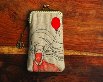iPhone Case iPhone sleeve gadget case - Red balloon Free Motion Embroidery girl  ( iPhone 7, iPhone 7 Plus, Samsung Galaxy S7 etc. )
