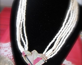 Heart Necklace of Micro Macrame with Hand Made Heart and Multi Strands of Bone Color Glass Beads An Original