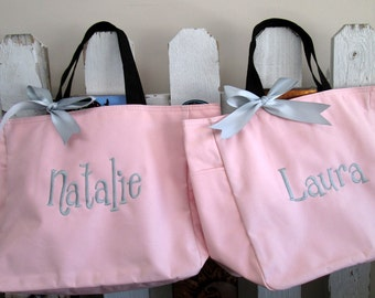 Personalized Bridesmaid Gift Wedding Totes, Set of 3