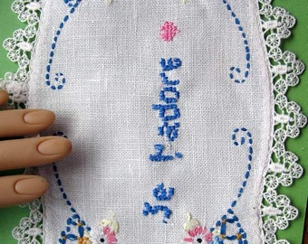 "Embroidered ""Je t'adore"" on a Floral Doily Perfect  for Romance in any Language"