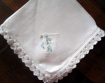 "Vintage  White Cotton Hanky /handkerchief Embroidered ""F  Monogram  Bridal Crocheted edge"