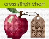 An Apple A Day cross stitch chart PDF, get well soon card CHART DOWNLOAD