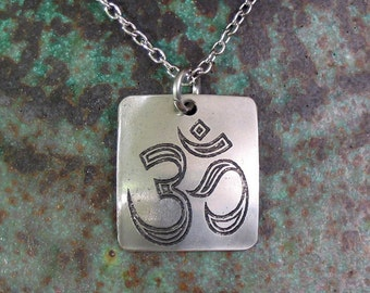 Aum Necklace, Etched Stainless Steel  - Infinite Harmony with the Cosmos
