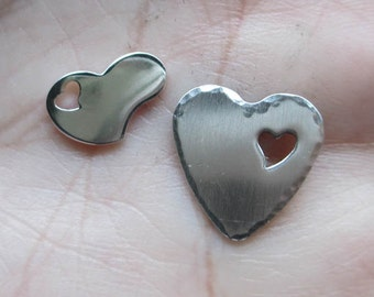 Sterling Silver Heart Stamping with heart cut out(one heart)You choose which one