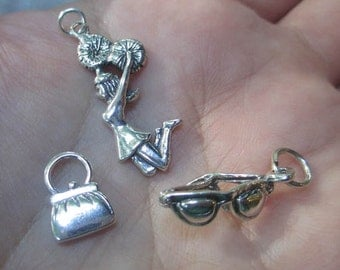 Sterling Silver Cheerleader,Purse or Sunglasses Charm(one charm)You choose which one