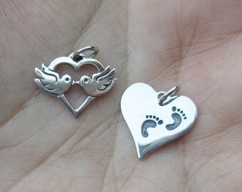Sterling Silver Love Birds or Footprints Heart(1 charm) - You choose which one