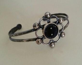Typewriter Key Cuff Bracelet in Sterling Silver