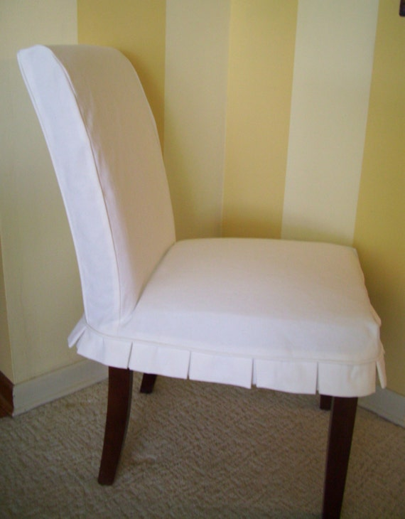 Parson chair slipcover box pleat dining chair slipcover for What is a parsons chair style