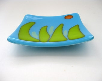 Sun Day, blue fused glass plate, soap dish, handmade