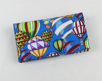 Checkbook Cover for Duplicate Checks with Pen Holder - Hot Air Balloons on Sky Blue background