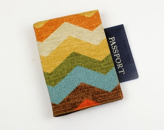 Panama Wave Passport Cover with Velcro Closure, Chevron style, Turquoise, Rust, Brown, Olive Green