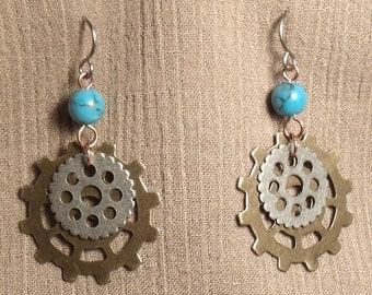 Steampunk gear earrings, mixed metals, imitation turquoise bead. 061427