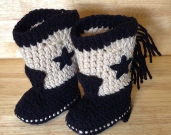 Western Cowboy Baby Booties Boots Crochet Black and Tan with Black Stars Baby Shower Gift