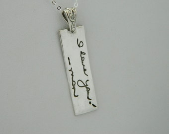 Rectangle Handwriting Necklace Signature Jewelry in Sterling Silver