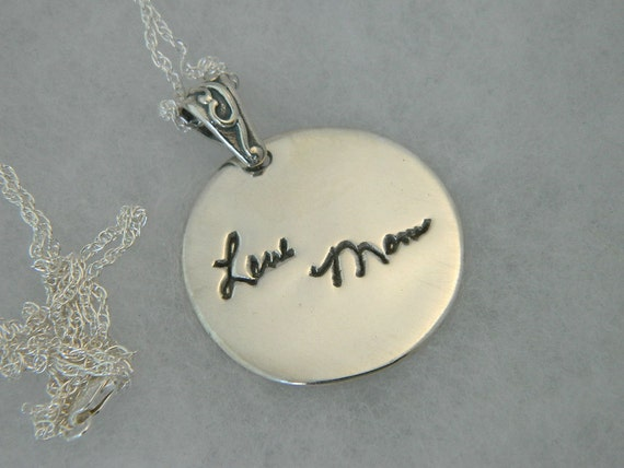 Signature Round Pendant in Memory of Mom Handwriting Jewelry in Sterling Silver