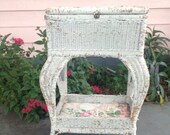 Victorian Sewing Basket Table White Pink and Green Sewing Stand Antique Vintage Heywood Wakefield Style  Shabby Chic at A Vintage Revolution
